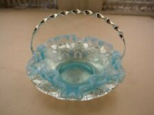 Vintage, Blue Opalescent Ruffled Vanity Bowl with Silver Plated Basket