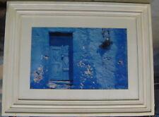 Framed Greek Print Aegean Diary Blue Door 83x63cm Yiorgos Depollas