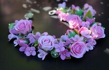 HANDCRAFTED Fashion rose polymer clay wedding PRETTY flower BRACELET HANDMADE
