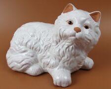 "8"" Inch Longhair Persian Cat Figurine Ceramic White Lying Down"