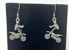 Dangle Hook Earrings (5.9G) Vtg Sterling Silver Motocross