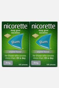 Nicorette Original Chewing Gum 4mg 105 Pieces (Bundle of 2)