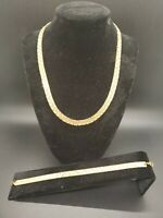 Stunning Vintage Textured Gold Tone Statement Set Necklace Bracelet