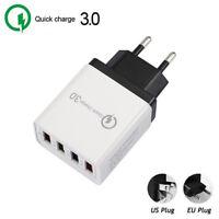 4 Port QC 3.0 Fast Quick Charge USB Hub Wall Charger Power Adapter EU/US Plug ~