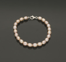 CULTURED PEARL BRACELET. NATURAL PINK COLOUR.   7.5 inches.  6.5mm Pearl