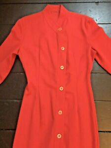 vintage 80's red rebel fitted edge to edge pencil tailored dress coat
