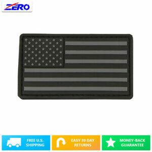 "Black USA Flag Patch PVC Rubber 3.4""x 2.0"" Hook Fastener United States America"