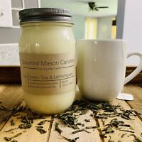 Scented Soy Wax Candle - Hand Poured & Highly Scented - Green Tea & Lemongrass
