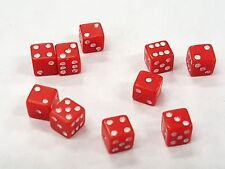 """TEN (10) TINY RED DICE WHITE PIPS 6 SIDED D6 DIE GAME SIX 3/16"""" 5mm MINIATURE"""