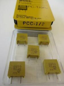 (5x) Bussmann Fuse PCC-1/2 PC Radial Lead Mount 125 Volts Metal Storage Box NOS
