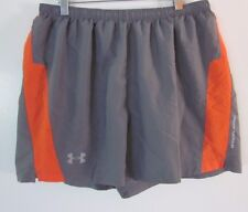 Under Armour Womens Athletic Shorts Gray Orange Fitted Running Gear Size LARGE L