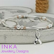 Inka Sterling Silver & Rose gold bead noodle Stacking Bracelet with Cancer charm