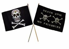 "12x18 12""x18"" Wholesale Combo Pirate Sugar Skull & Death Zone Prison Stick Flag"