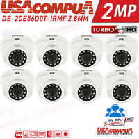 Hikvision DS-2CE56D0T-IRMF 8-Pack HD 1080P  TVI-HD 2MP Camera  2.8mm DOME