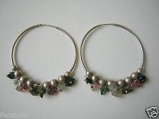 Große geprüfte Silber Ohrringe Ohrstecker Creolen mit bunten Farbsteinen 9,1 g