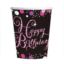rose Célébration Joyeux Anniversaire Tasse en papier 266ml - 8 paquet