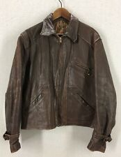 Vintage 30's Brown Horsehide Leather Ball Chain Zipper Jacket Sz 46