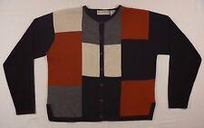 Women's Dressbarn Petite Black/Red/White Crewneck Cardigan Sweater size PM