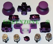PS3 Controller Full Chrome Purple Mod Kit With Silver Bullet Buttons + Home