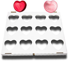 24 Red Heart Shaped Cupcake Cases with 1 Baking Tray Valentines Love baking