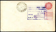 BRAZIL SEMANA DO TRANSITO NATAL CITY Cancel on Cover 1942 VF