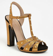 NIB GUCCI Jacquelyne Gold Studded Leather Sandal 40/US 10 Brown/Teak Shoes $895