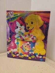 Lisa Frank binder Puppy Kitten Popcorn Movies 2000s vintage dog cat sparkly holo