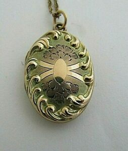 VINTAGE YELLOW & ROSE GOLD FILLED REPOUSSE EDGE PHOTO LOCKET NECKLACE