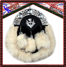 SCOTTISH FULL DRESS SPORRAN WHITE RABBIT FUR & CHROME CELTIC CANTLE WITH THISTLE