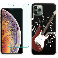 TPU Case for Apple iPhone 11 Pro + Tempered Glass - Guitar Red