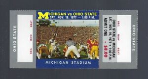 1977 NCAA OHIO STATE BUCKEYES @ MICHIGAN WOLVERINES FULL UNUSED FOOTBALL TICKET
