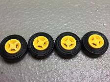 New LEGO Yellow Wheel 8mm x 6mm with Black Tire 14mm x 4mm (x4) 4624 / 59895