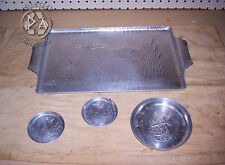 "Vintage Aluminum 16"" Tray with Matching Two 3"" Coasters & One 5"" Ashtray Mallard"