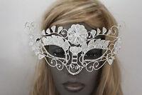 Women Half Face Eye Costume Flowers Mask Leaves Silver Mesh Metal Long Halloween