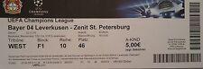 TICKET UEFA CL 2014/15 Bayer Leverkusen - Zenit St. Petersburg