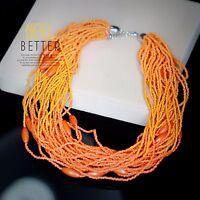 Collier Court Gros Doré MultiRang Mini Perle Orange Ethnique Original QT12