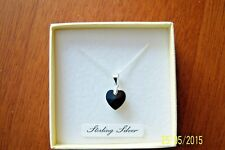 BLACK JET CRYSTAL HEART ON A 925 STERLING SILVER CHAIN PENDANT NECKLACE BNWT
