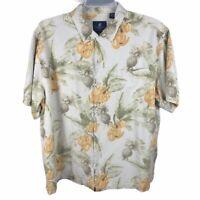 Caribbean Joe Silk Hawaiian Shirt Mens 2XL Button Up Aloha Camp Bahama Island 2X