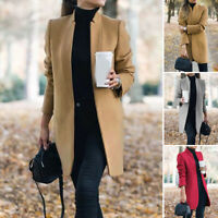 Womens Winter Wool Blend Trench Coat Blazer Long Cardigan Jacket Parka Overcoat