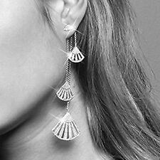 18k white GP made with SWAROVSKI CZ asymmetric earrings ear jackets 925 silver