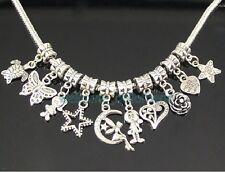 50pcs Tibetan Silver Girl Boy Heart Mix Dangle Charms Fit European Bracelet ZY01