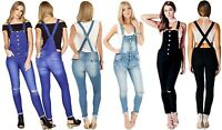 NEW WOME'NS DENIM BLUE BLACK STRETCH SKINNY JEANS DUNGAREES UK SIZE 8 -14