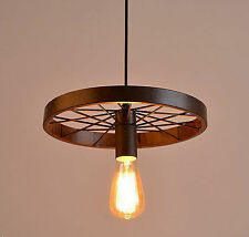 Rustic Metal Wheel Industrial Vintage Retro Pendant Lamp Ceiling Light