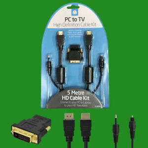 5m Cable Kit HD High Definition PC to TV Streaming Laptop Music Games Connector