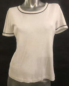 S THEORY $125 White Black Piping Short Sleeved Stretch QUALITY Top T-shirt T