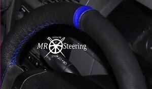 Pour BMW 3 Série E46 98-05 Noir Housse Volant Cuir + Bleu Royal Bracelet