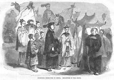 CHINA Departure of the Bride from a Marriage Ceremony - Antique Print 1857