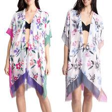Women's Kimono Summer Floral Print Lightweight Long Top Cover Beachwear Dress
