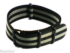 20mm 3 ring Grey Black Nylon Military Watch Band Strap Fits Luminox Traser CASIO