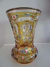 Antique MOSER Glass Yellow Overlay Enameled Beaker Cut to Clear Bohemian